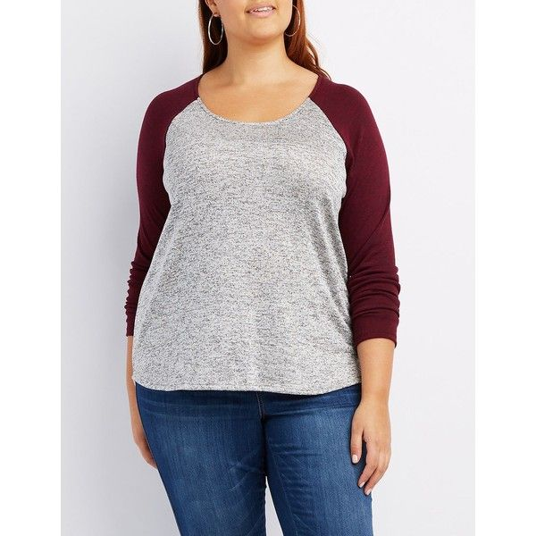 Charlotte Russe Marled Raglan Tee ($15) ❤ liked on Polyvore featuring plus size women's fashion, plus size clothing, plus size tops, plus size t-shirts, heather gray c, women's plus size tops, scoop neck t shirt, raglan tee, long sleeve tee and short sleeve tee