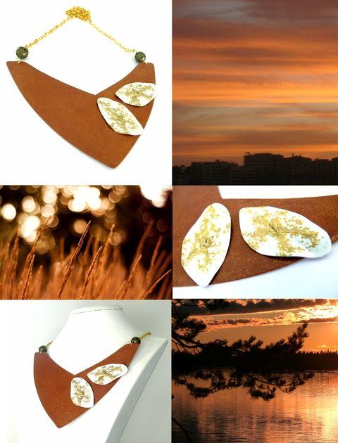 Nyári naplemente - Rozsda és arany nyaklánc, Ékszer, óra, Nyaklánc, Ékszerkészítés, Fémmegmunkálás, Meska