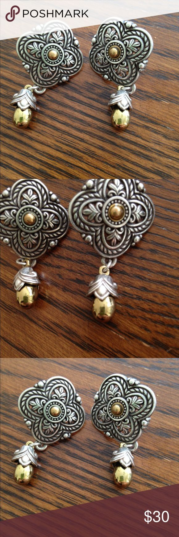 Brighton Silver and Gold Earrings ~ No longer Make Brighton Silver and Gold Earrings ~ Original ~ They No longer Make this Style Brighton Jewelry Earrings