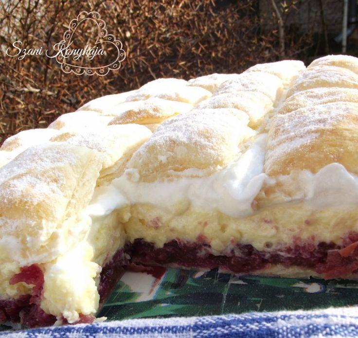 A leveles tészta kedvelőknek egy habos, meggyes finomság. :)   Hozzávalók:    500 g leveles tészta    Meggykrém:   1 üveg meggybefő...