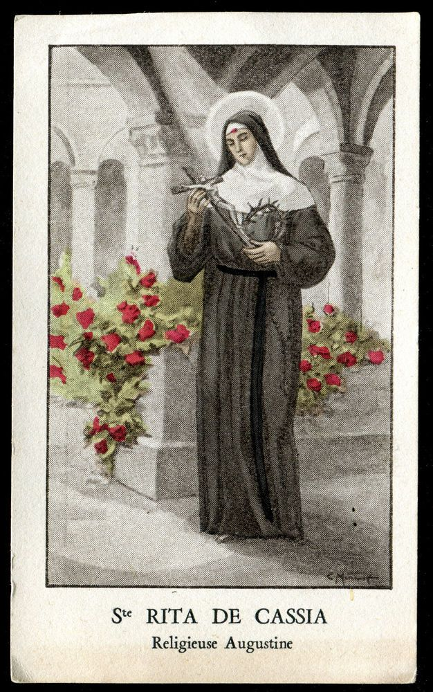 antique holy card  ST RITA OF CASCIA MISSION IMPOSSIBLE