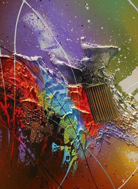 Tableau abstrait contemporain toile encadré caisse américaine peinture en relief noir violet rouge marron jaune vert : Peintures par tableaux-abstraits-nathalie-robert