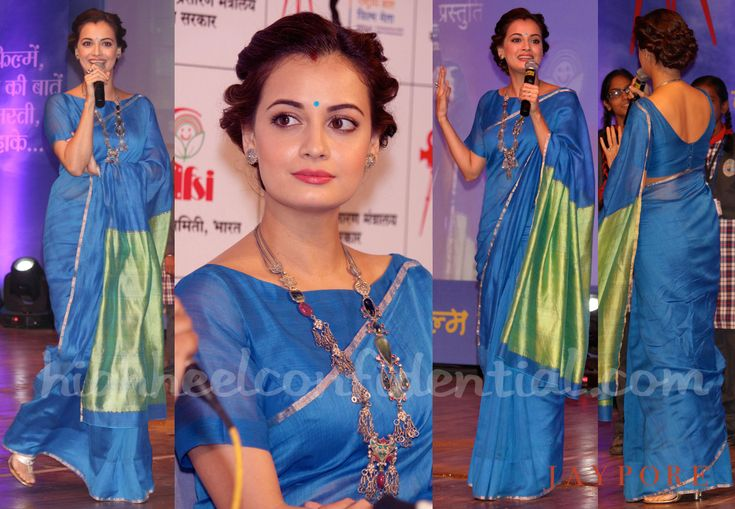 Dia Mirza is perfection in this blue sari - love the style of the blouse!
