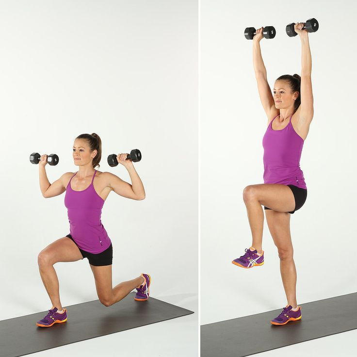 Reverse Lunge and Press: This shoulder-shaping move will also target the thighs and butt.
