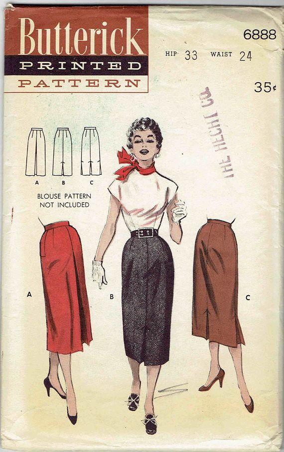 50 s slim jupe droite patron Butterick 6888. Des plis creux