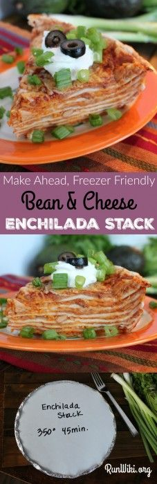 Bean and cheese Enchilada Stack. My family and I love this easy weeknight dinner idea. Nothing too spicy, so even most young kids will love it- serve with rice. I make several ahead of time and freeze for later. So simple to make- only three ingredients that you probably have in your pantry. | Inexpensive Meal Idea| Mexican Food Recipe | Potluck | Gameday