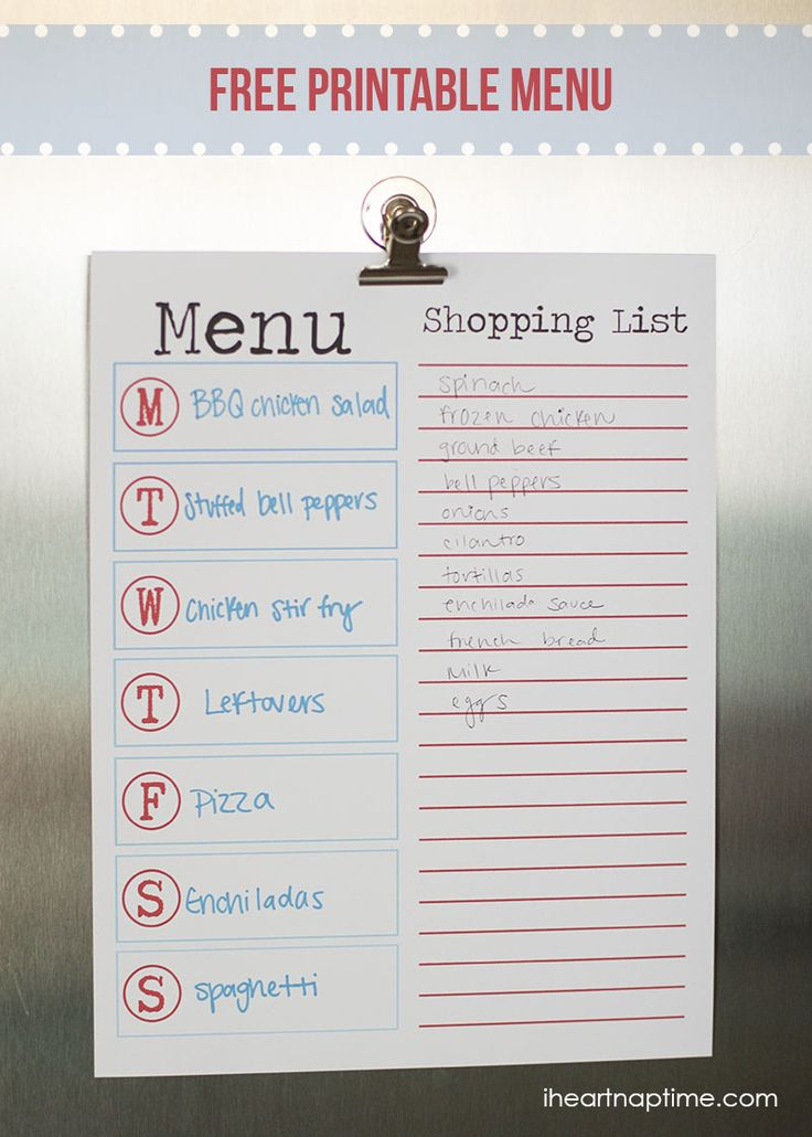 FREE Printable Menu + shopping list ...great way to stay organized each week.