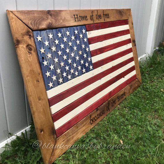 Wood Flag, Wood American Flag, Rustic American Flag, Raised Star American Flag, Flag Decor