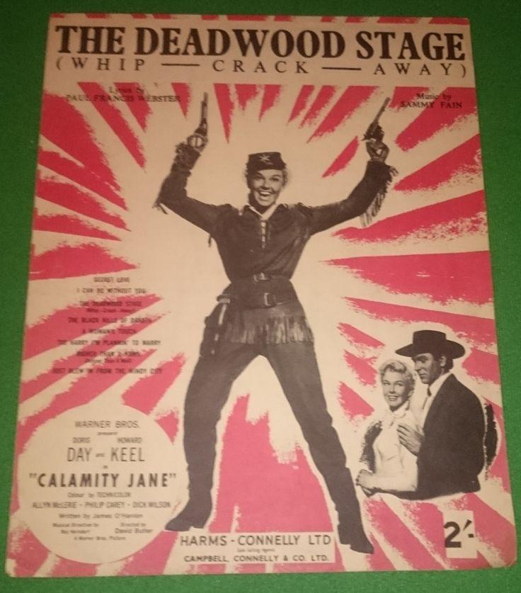 The Deadwood Stage  ( Whip-Crack-Away ) Sheet Music 1953 Doris Day, Howard Keel,  Iconic Musical  Calamity Jane Rare Wild West by bastarduk on Etsy