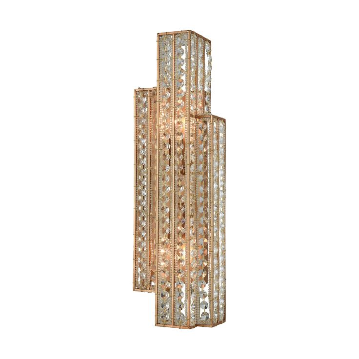 Lexicon 2 Light Sconce In Matte Gold With Clear Crystal