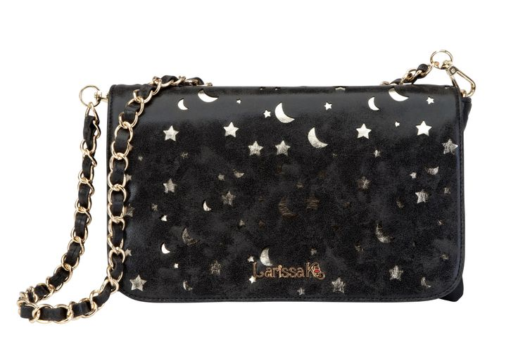 GET THE LOOK - Pair our Milan Clutch in metallic black with our Celeste (star & moon) TrendStyler™ http://www.larissa-k.com/base-bags/milan-clutch-metallic-black-detail AND http://www.larissa-k.com/trendstylers/celeste-trendstyler-detail