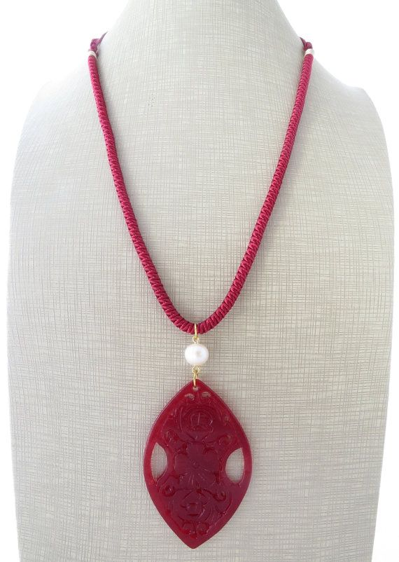 Red pendant necklace jade necklace carved jade by Sofiasbijoux