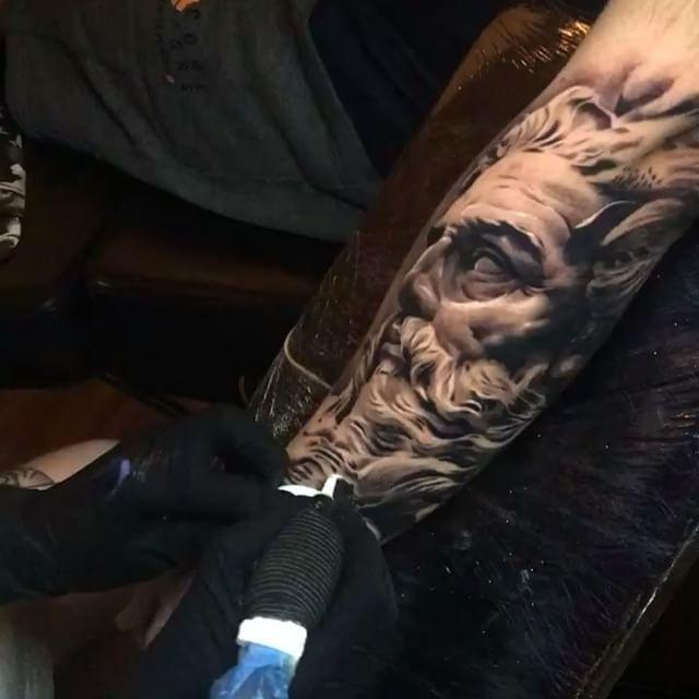 Ash Higham Greek God tattoo at Rapture Studio