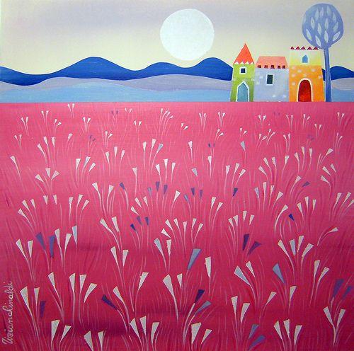 Il ritorno by Tiziana Rinaldi #art #painting #field #summer #moon #pink #landscape