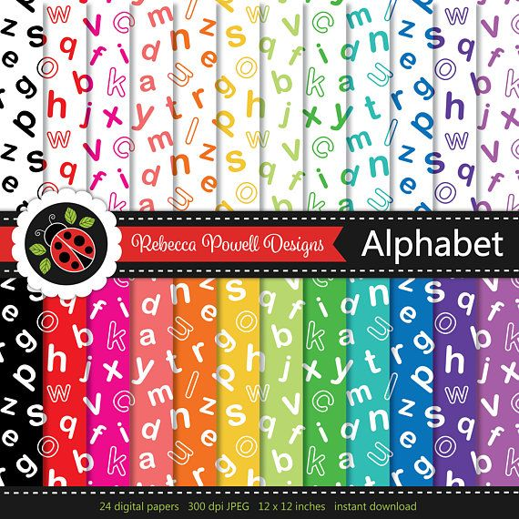 Alphabet Pattern Letters ABC Digital Paper Set Rainbow Colours