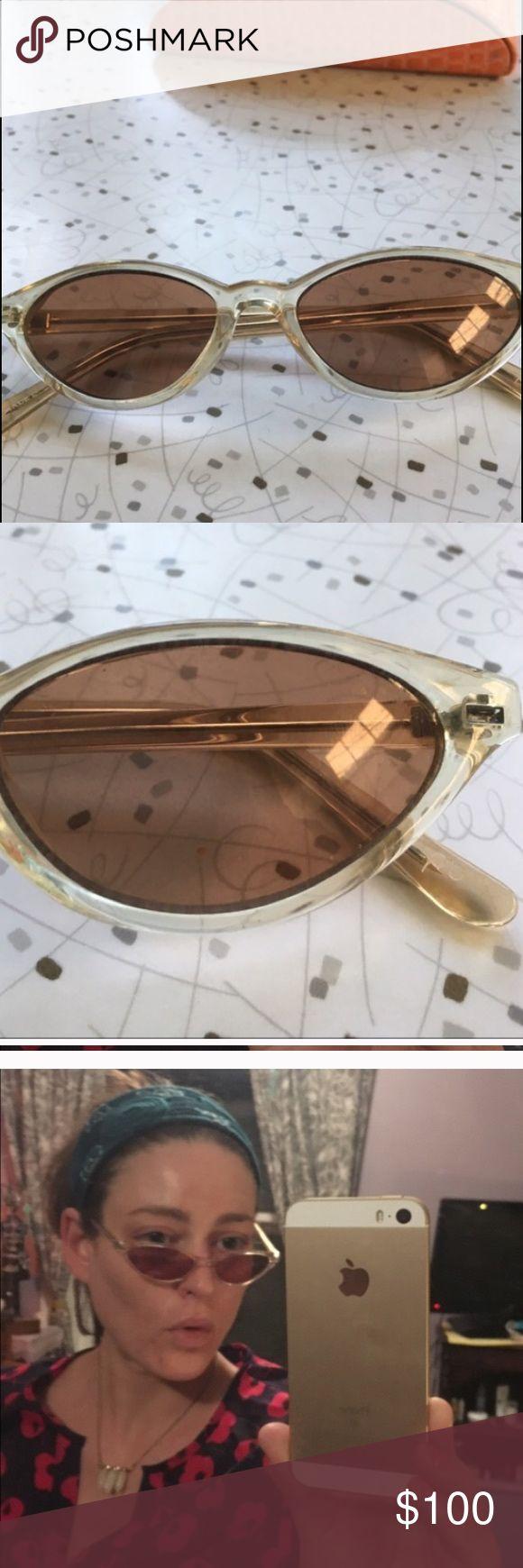 Retro women's sunglasses. No scratches! Gorgeous champagne plastic frames. 1950's / 60's style. Accessories Sunglasses