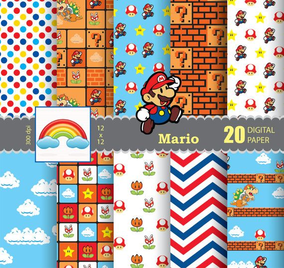 MARIO - paper - Digital Paper - background - 20 Sheets ...