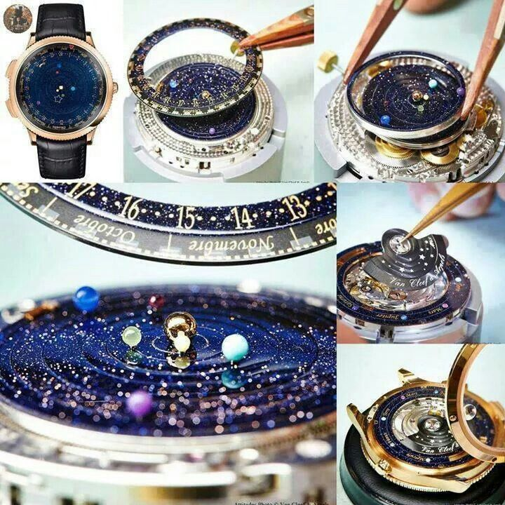 The Midnight Planetarium by Van Cleef & A. keeps track of position of 6 planets visible from Earth plus functions as a watch w a shooting star as an hour hand.Now how awesome is that?