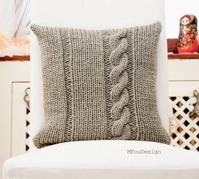 knitted pillowcase / poszewka na poduszkę na drutach ~ MFOUDESIGN - HANDMADE by Magda Fou