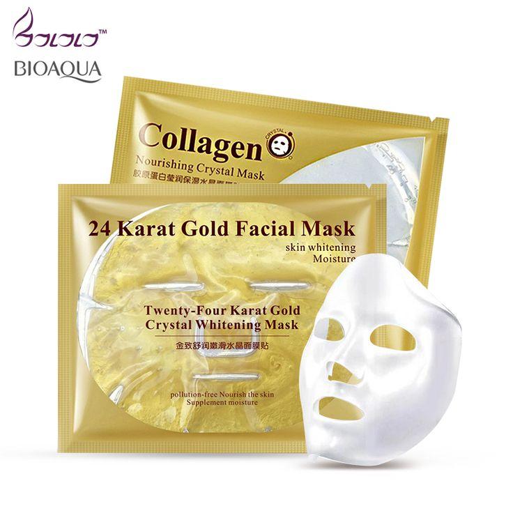 Aliexpress.com: Comprar 24 k oro máscara facial/esencia de colágeno máscara facial cristalina máscaras de ácido hialurónico blanqueamiento reparación de la piel seca la humedad de su piel cuidado de gold facial mask fiable proveedores en BaLaLa