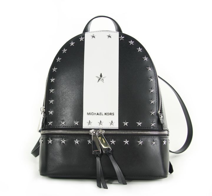 MICHAEL Michael Kors Rhea Medium Stars Studded Backpack Black/white