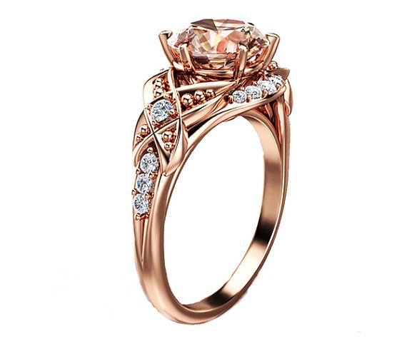 14K Rose Gold Morganite Ring unique engagement by AyalaDiamonds