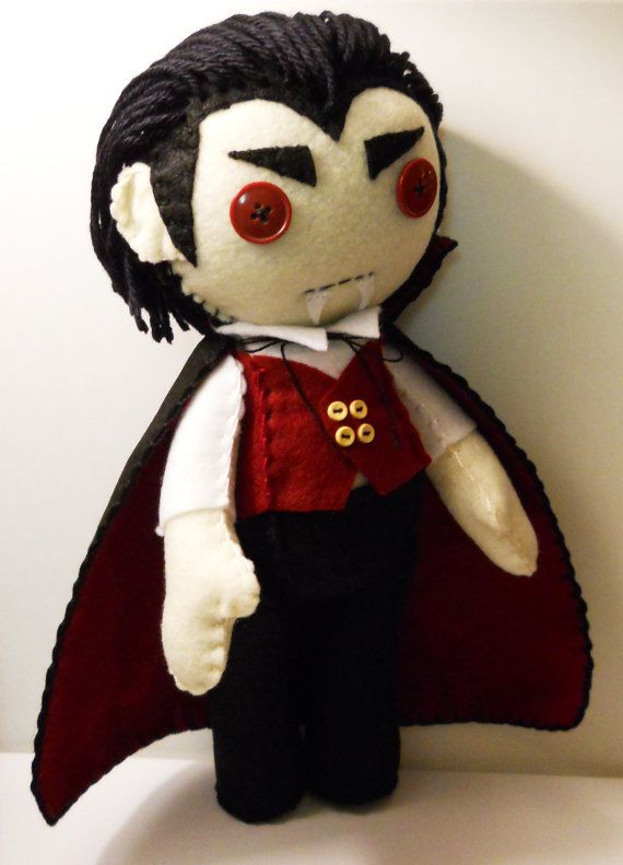 Felt vampire Dracula plush stuffed rag doll by SouthernGothica