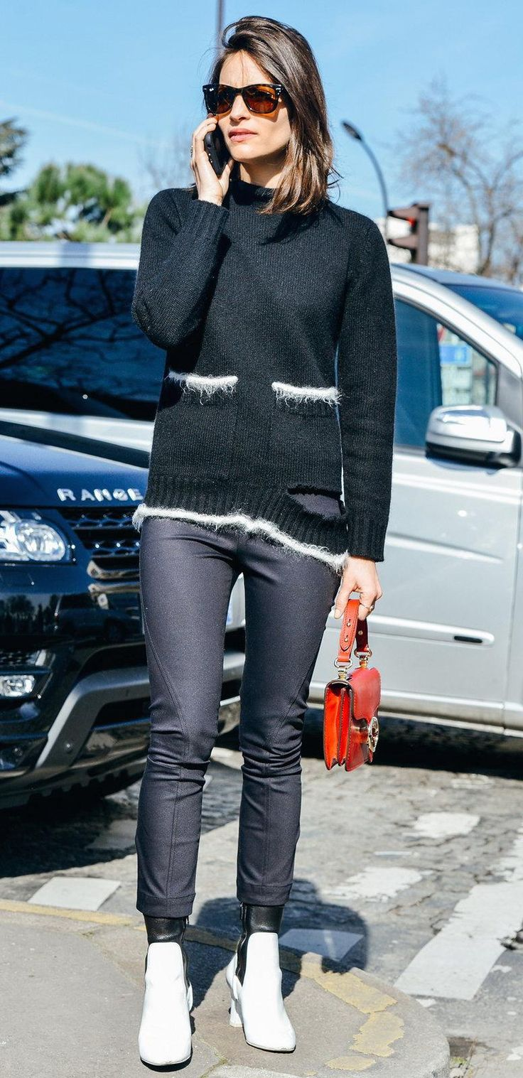 Black fitted trousers, black and white fuzzy sweater, red purse, white sneakers | www.bazzul.com