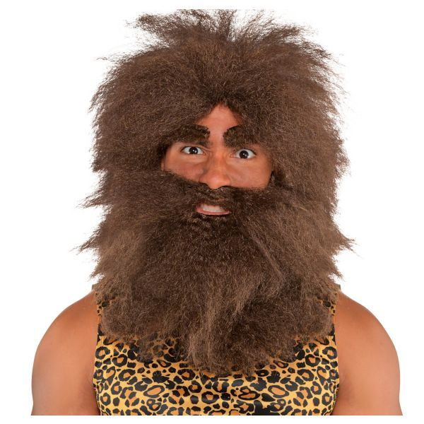 Rubies Pre Historic Caveman Wig Beard Brown Halloween Costume Accessory 50821