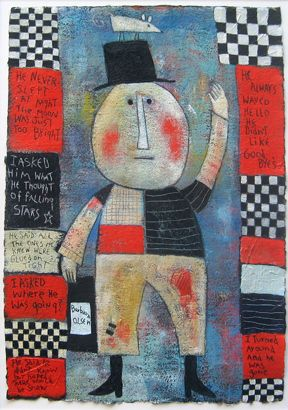 Little Man, mixed media on paper with original poem by Olsen. ©Barbara Olsen