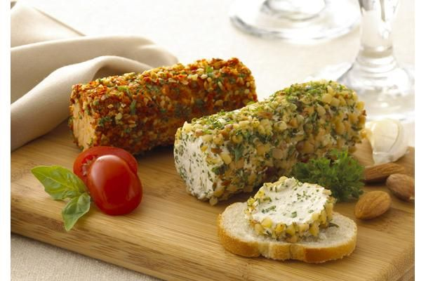 Gourmet Spreadable Cheese Log On Sliced Baguette #appetizer