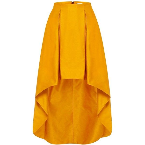 MERCY MAXI SKIRT (€100) ❤ liked on Polyvore featuring skirts, bottoms, hi low skirt, orange pleated maxi skirt, high low skirt, hi low maxi skirt and pleated skirt