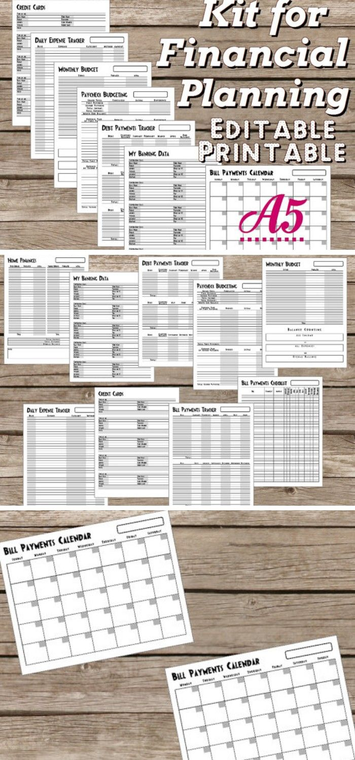 Kit for Financial Planning Editable Printable A5, Simple and intuitive kit includes: 1. Home Finances 2. Daily Expense Tracker 3. Monthly Budget 4. Bill Payments Checklist 5. Bill Payments Tracker 6. Debt Payments Tracker 7. Paycheck Budgeting 8. My Banking Data 9. Credit Cards 10. Bill Payments Calendar, Start Sunday 11. Bill Payments Calendar, Start Monday #finanicalplanner #budget #bulletjournals #ad #printable #planner #template #organize #etsy