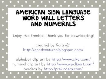 FREE Download!  Word Wall Letters & Numerals - American Sign Language
