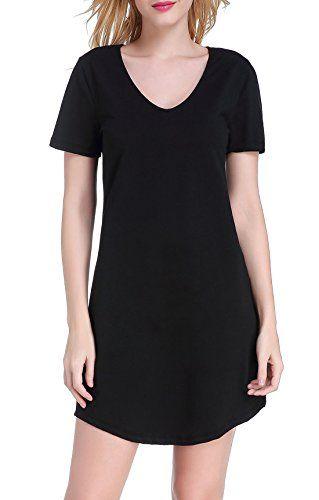 Chamllymers Women's Nightgown Cotton Nightwear Loose Short Sleeve Sleepwear XS to XL - http://www.darrenblogs.com/2016/11/chamllymers-womens-nightgown-cotton-nightwear-loose-short-sleeve-sleepwear-xs-to-xl/