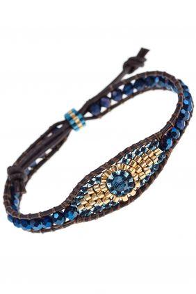 designer armband leder miyuki perlen quarz auge blau gold