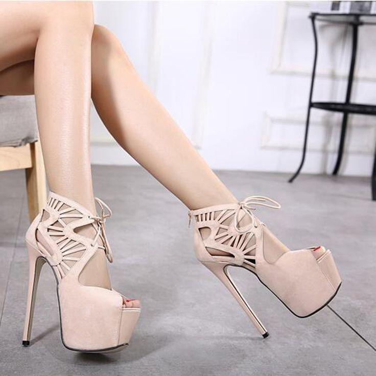pumps ankle strap 16CM High Heels shoes Pumps Summer sandals 2017 Party Shoes for Women Platform Pumps Shoes lace up pumps X253