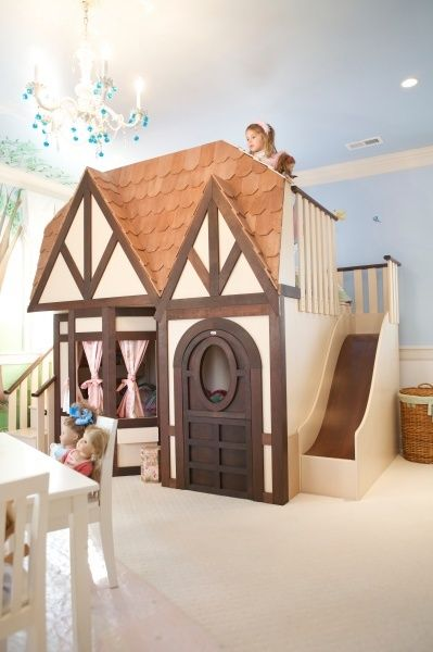 Here is Bowens Tudor Style Cottage playhouse doll house theme bed. We designed the perfect combination of a girls loft bed playhouse in one  so you can create the ultimate bedroom for your child.    This custom made Girls doll house playhouse bed looks just like a real house, has a slide and staircase. What a beautiful room for a little princess.    Bowens mother wanted a special custom theme bed made for her daughter so the transition from her toddler bed to a big girl bed wou