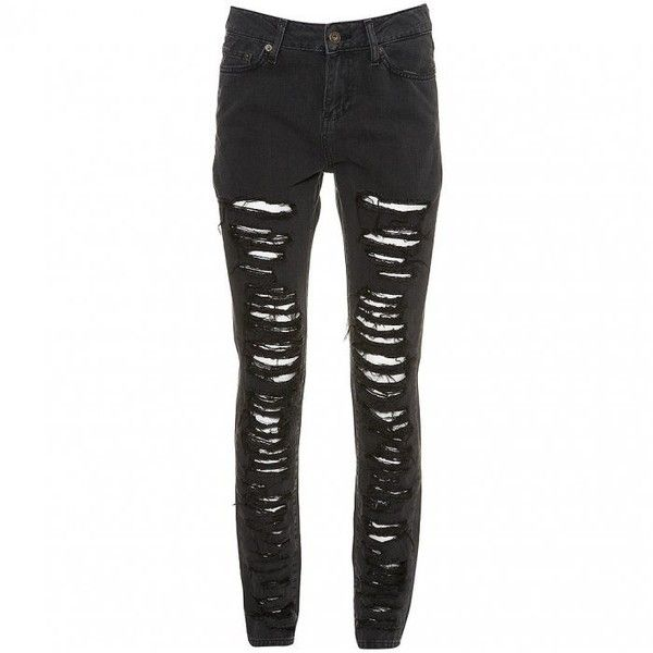 DIY Ripped Skinny Jeans La Belle et la It Girl ❤ liked on Polyvore featuring jeans, pants, bottoms, pantalones, destroyed jeans, punk jeans, punk skinny jeans, torn skinny jeans and destruction jeans