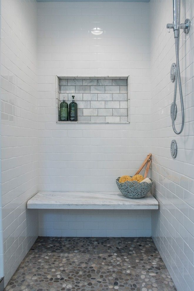 Shower Bench Height Spaces Modern with Horizontal Tile Mounted Robe and Towel Hooks
