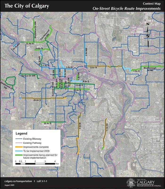 Bike paths in Calgary