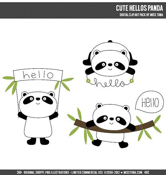 Cute Hellos Panda Digital Clipart Clip Art by MissTiina on Etsy