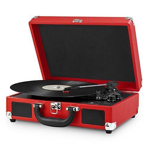 Three-speed turntable (33 1/3, 45, 78 RPM) plays all of your vinyl records and favorite albums., Built-in Bluetooth to wirelessly play music from your Bluetooth enabled device. No cords needed., Portable suitcase design with easy carry handle, 3.5mm Aux-in for playing music from any non-Bluetooth device, RCA Aux-in and headphone jack, Built-in stereo speakers. | eBay!