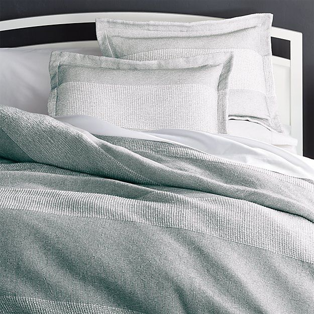 Kiyomi Grey Striped Duvet Covers And Pillow Shams Crate And