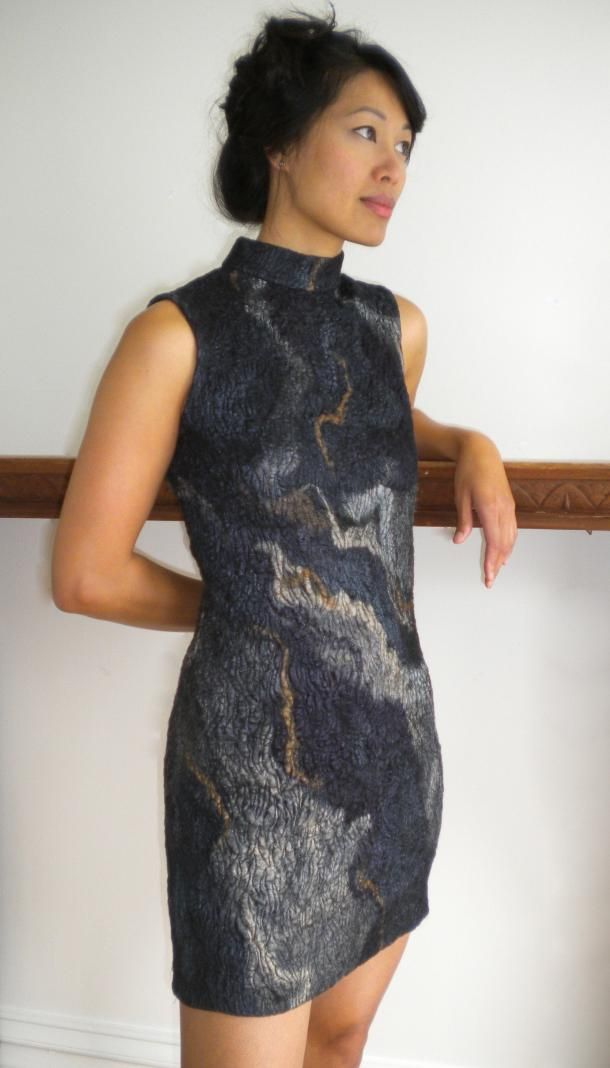 River Styx - Connie Strayer  Silk felted with free motion stitch and hand dyeing.