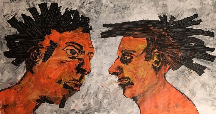 To mænd. Kell Jarner 2017. 110 x 50 cm.