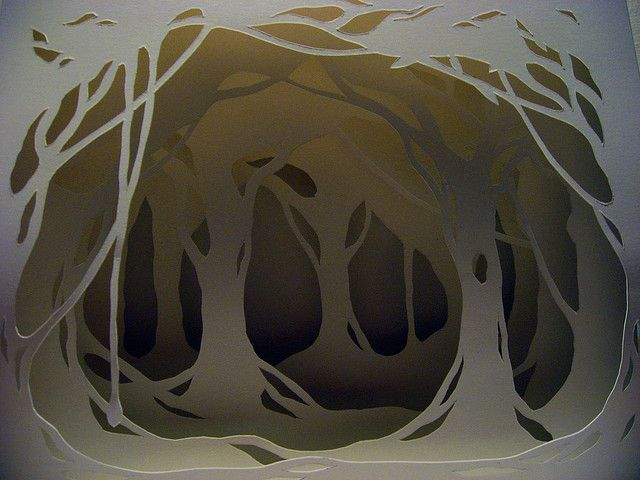 a paper forest (could easily be translated to foamcore flats)                                                                                                                                                                                 More