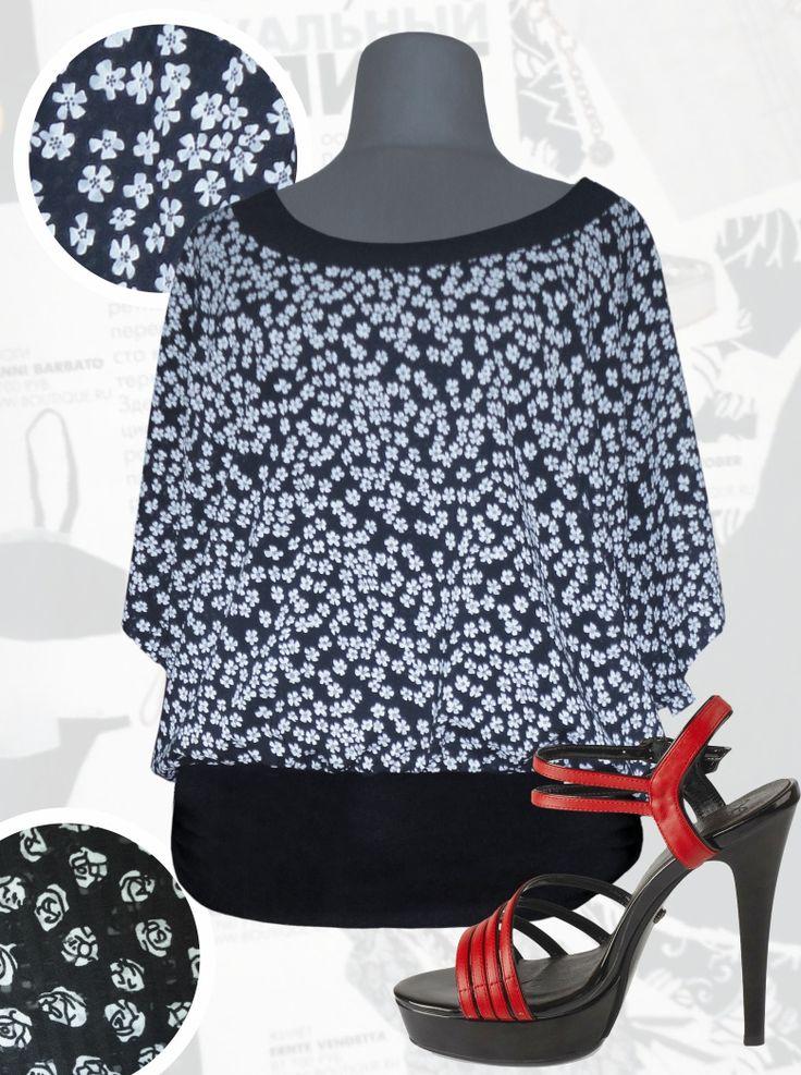33$ Летняя блузка свободного покроя для полных женщин в мелкий цветочек из шифона-поплина Артикул 736,р50-64