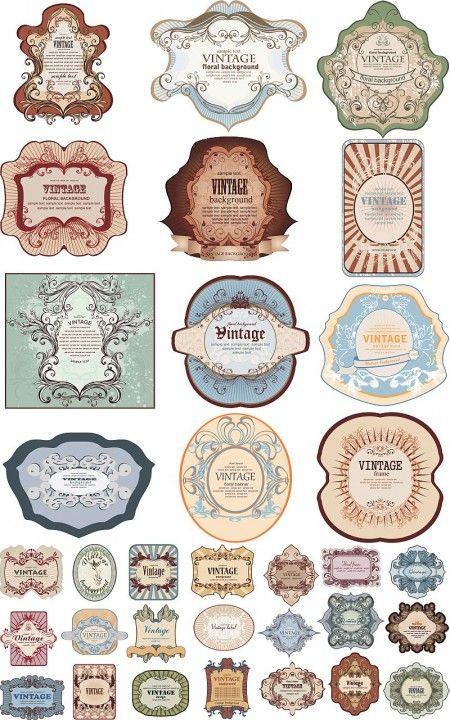 vintage labels vector1 450x720 無料コラージュ素材 ヴィンテージなラベル素材 豪華3セット   Free Style