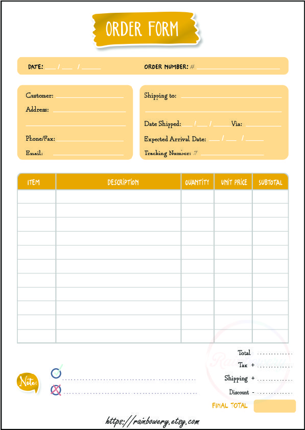 generic order form  Order Form Template Printable, Small Business Order Form ...